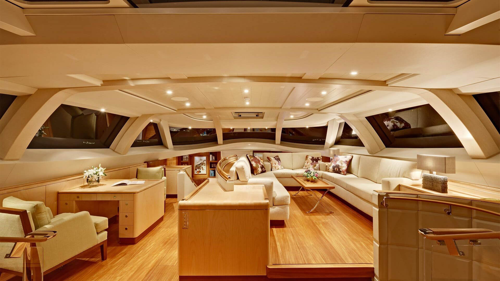 bsw yachteinrichter with yacht interior for living and dining area on luxury sailing yacht.