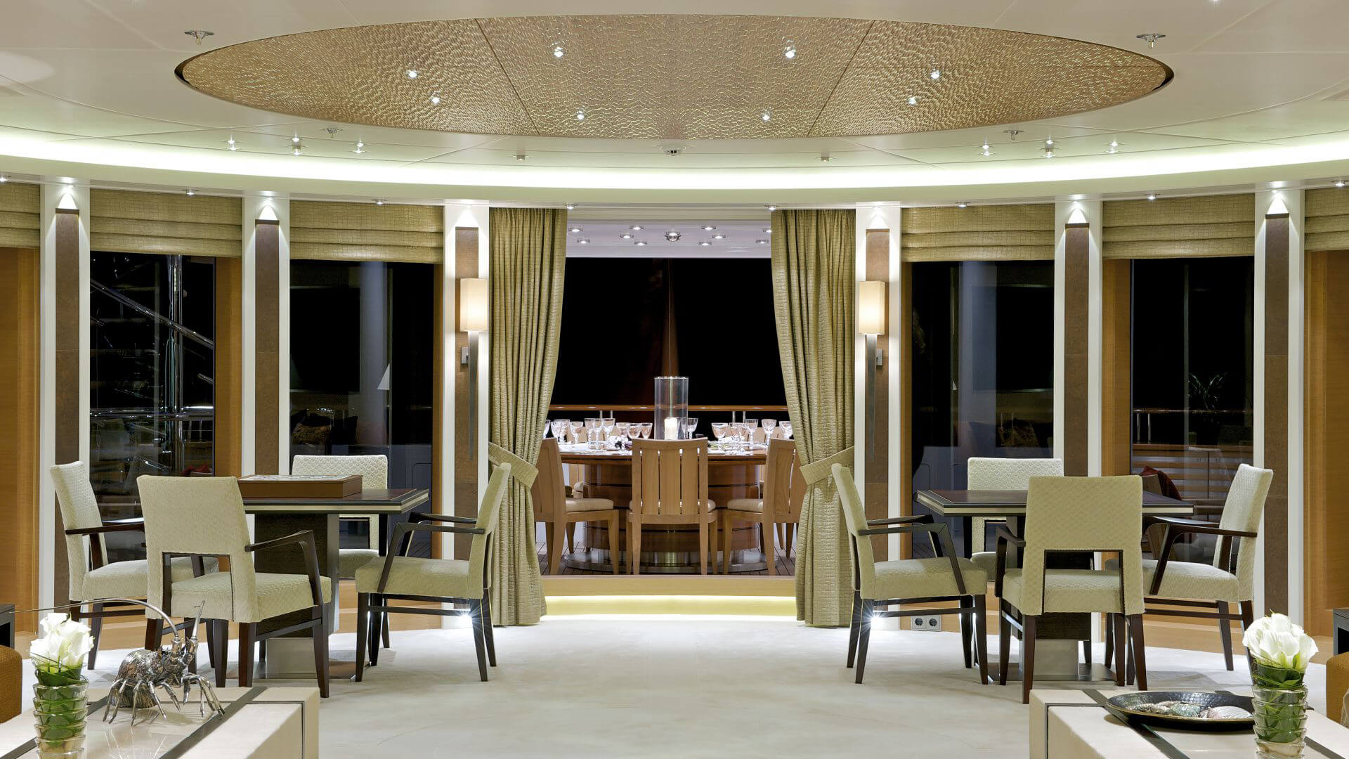 bsw yachteinrichter with yacht interior for dining room and outdoor area on luxury motor yacht